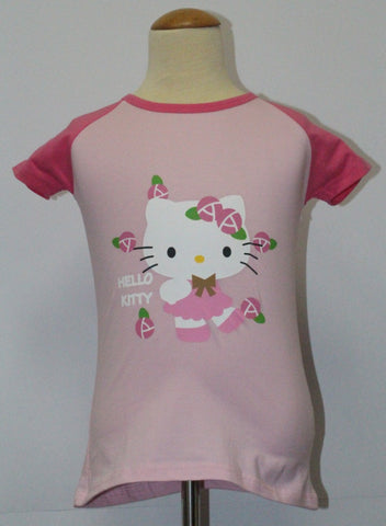 HELLO KITTY KIDS COTTON TOP / T-SHIRT LIGHT PINK - KT 88225