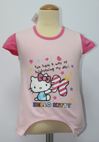 HELLO KITTY KIDS COTTON TOP / T-SHIRT LIGHT PINK - KT 88209
