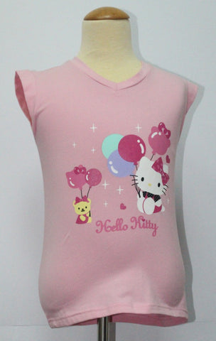 HELLO KITTY KIDS COTTON TOP / T-SHIRT LIGHT PINK  - KT 88197-6