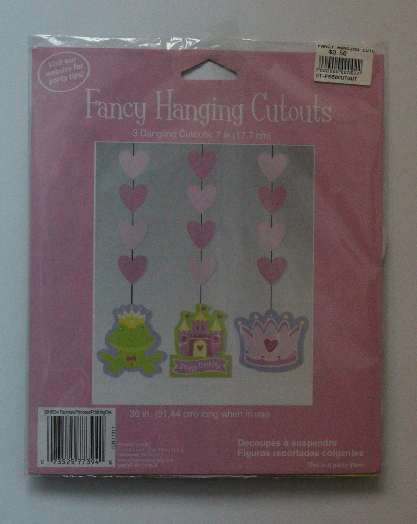 PARTY FANCY HANGING CUTOUTS [HEARTS, CROWN, CASTLE, FROG]