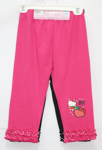 HELLO KITTY KIDS COTTON 3/4 PANTS 2 PC SET - KT 00109 PINK/BLACK