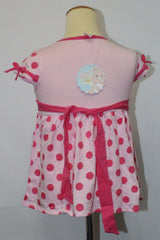 CARE BEARS KIDS COTTON DRESS WITH DOTS - LIGHT PINK CB 1106B