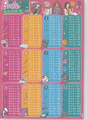 BARBIE MULTIPLICATION / TIMETABLE EDUCATION POSTER -BB17 MT B001