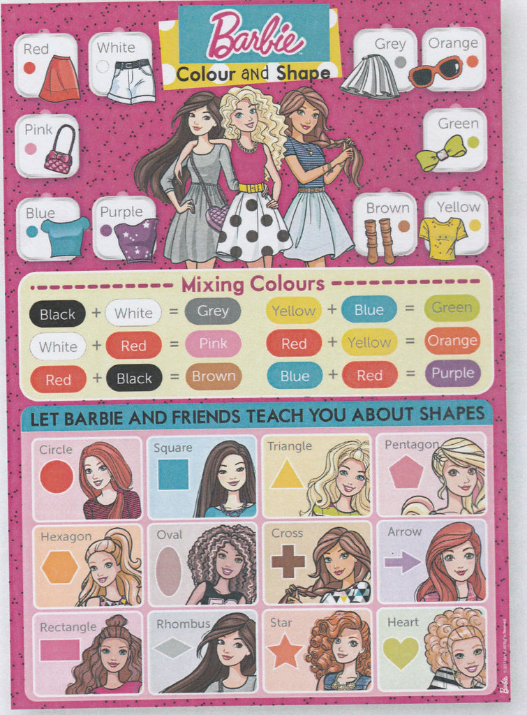 BARBIE COLOURS & SHAPE EDUCATIONAL POSTER -BB17 CS B001