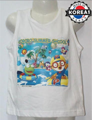 PORORO SLEEVELESS TEE- SUMMER SCH WHITE [MADE IN KOREA]