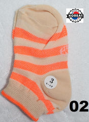 KOREA COTTON KIDS SOCKS - MOTHER & ME - ORANGE STRIPE [SIZE 3] [AGE 5-6] [MADE IN KOREA]