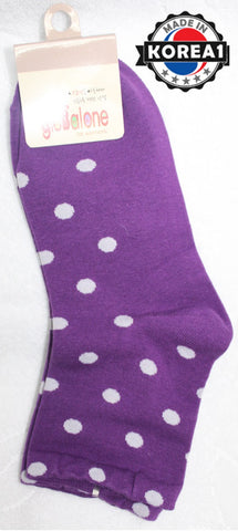 KOREAN ADULT COTTON SOCKS - DOTS PURPLE / YELLOW [MADE IN KOREA]