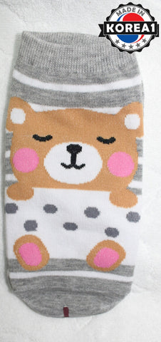 KOREAN ADULT COTTON SOCKS- BEAR / STRAWBERRY [FREE SIZE] [MADE IN KOREA]