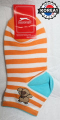 KOREAN COTTON SOCKS - BEAR PURPLE / ORANGE [FREE SIZE] [MADE IN KOREA]