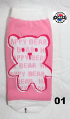 KOREAN ADULT COTTON SOCKS - PINK BEAR [FREE SIZE] [MADE IN KOREA]
