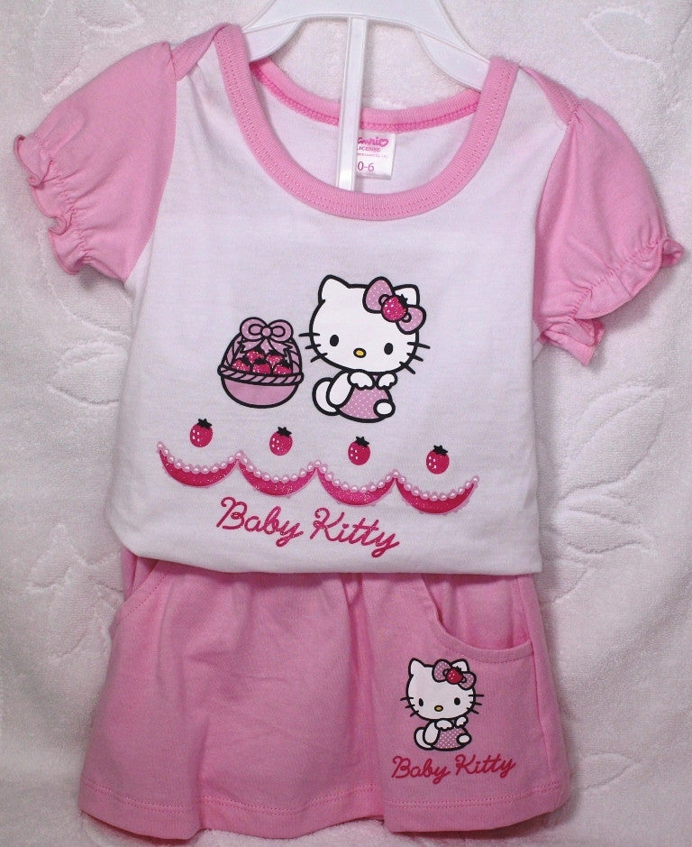 HELLO KITTY BABY COTTON TOP & SKIRT SET KT 22006 - WHITE