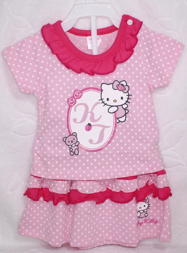 HELLO KITTY BABY COTTON TOP & SKIRT SET - KT 22009 PINK [MADE IN TAIWAN]
