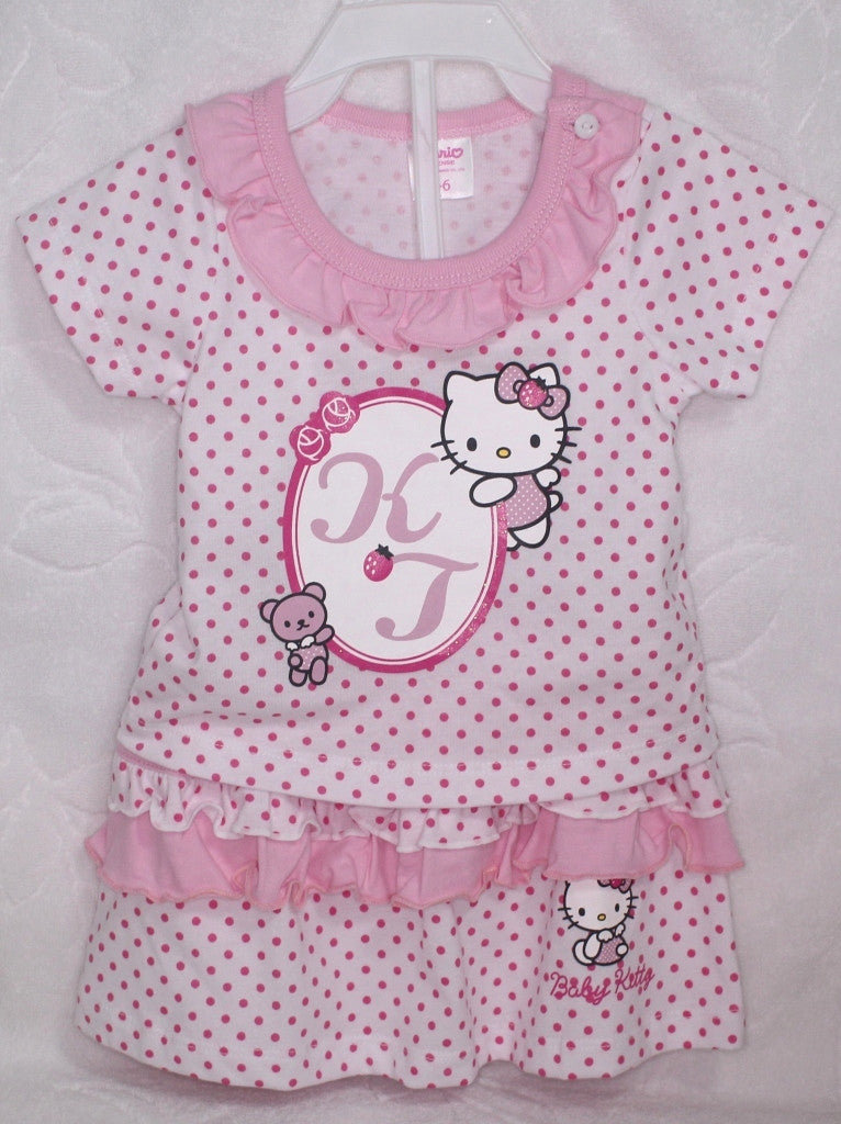 HELLO KITTY BABY COTTON TOP & SKIRT SET - KT 22009 WHITE [MADE IN TAIWAN]