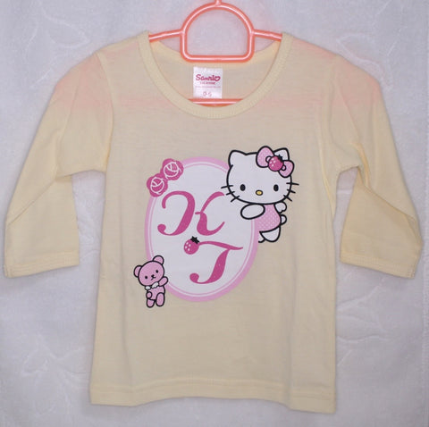 HELLO KITTY BABY COTTON LONG SLEEVE TOP - KT 22014 YELLOW