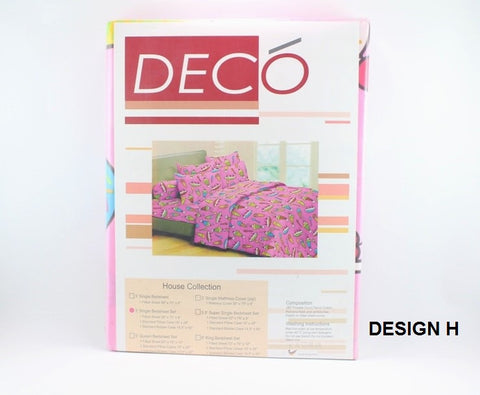 "3"" SINGLE COTTON BEDSHEET SET [280 THREADS COUNT] - ICE CREAM DESIGN"