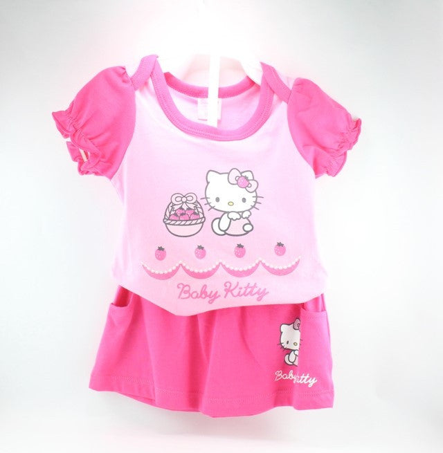 HELLO KITTY BABY COTTON TOP & SKIRT SET -DARK PINK KT 22006