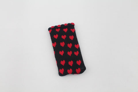 MINI POUCH- BLACK RED HEARTS