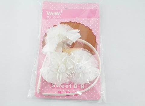 KIDS HAIR BAND & CLIPS SET - WHITE