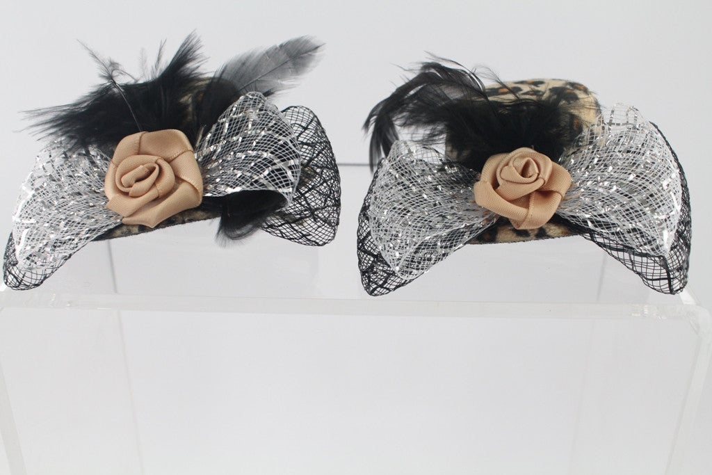 HAIR CLIP-MINI LEOPARD HAT