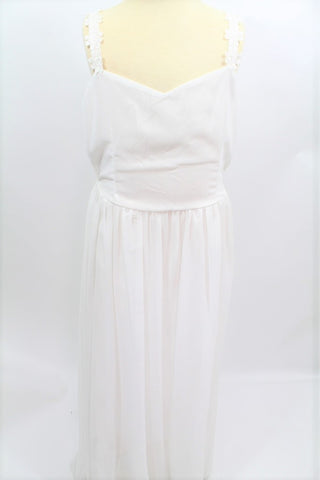 DRESS- WHITE LONG (FREE SIZE)