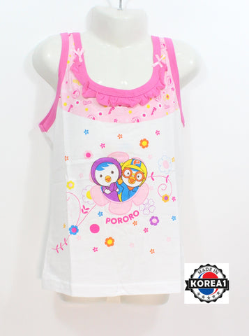 PORORO SLEEVELESS TEE- PINK FLOWER [MADE IN KOREA]