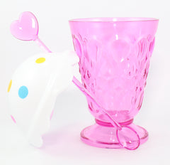 PINK ICE CREAM CUP WITH LID & SPOON