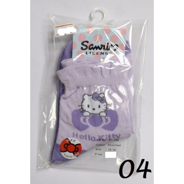 HELLO KITTY COTTON SOCKS- KT- 755 (15-18cm) [AGE 5-8] [MADE IN TAIWAN]