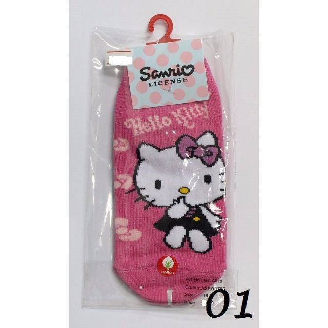 HELLO KITTY COTTON SOCKS KT- A518 (15-24CM) [AGE 5-15] [MADE IN TAIWAN]