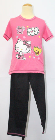HELLO KITTY TEE / T-SHIRT & LONG PANTS SET- KT 88185 DARK PINK