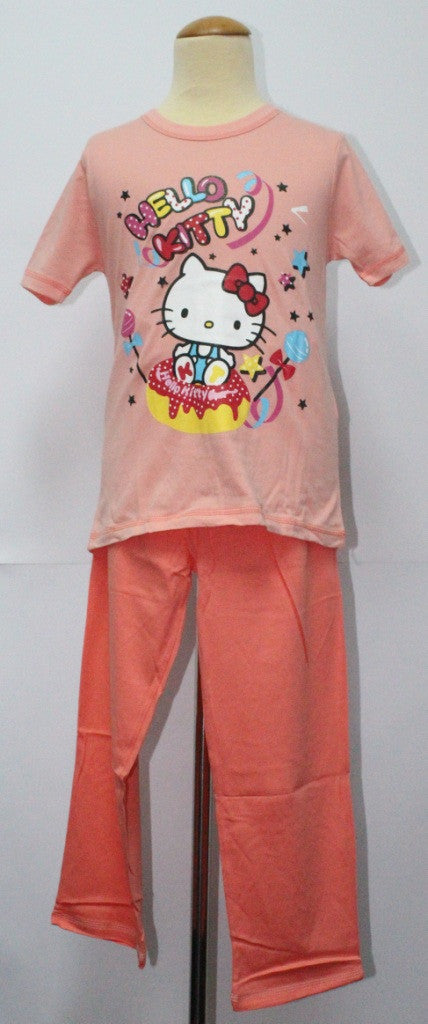 HELLO KITTY T-SHIRT / TEE & LONG PANTS SET- KT 88186 PEACH COLOUR