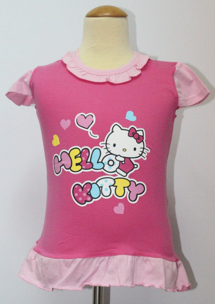 HELLO KITTY KIDS COTTON TOP / T-SHIRT - KT 88235 DARK PINK