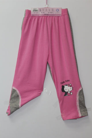 HELLO KITTY KIDS COTTON 3/4 PANTS 2 PC SET- KT 00103 PINK & GREY