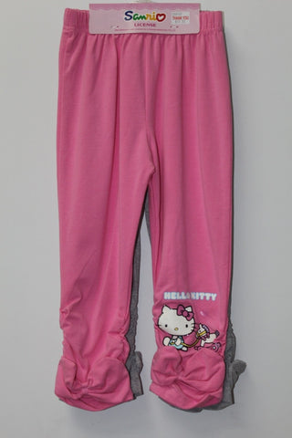 HELLO KITTY KIDS COTTON 3/4 PANTS 2 PC SET - KT 00105 PINK & GREY