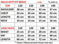 HELLO KITTY PINK SHORT SLEEVE T-SHIRT/ TEE & LONG PANTS SET- KT 88224