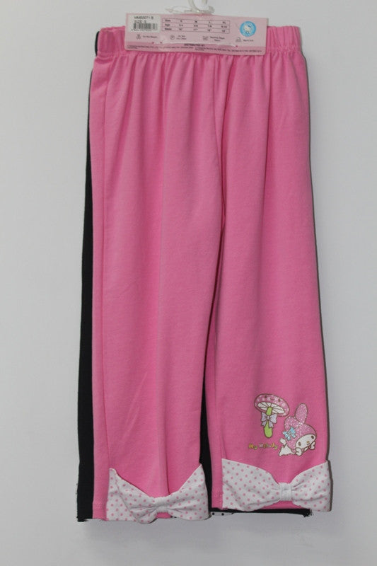 MELODY KIDS COTTON 3/4 PANTS 2 PC SET - MM 00071B PINK & BLACK