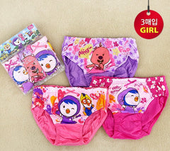 PORORO KIDS PANTIES FOR GIRLS (3 PC SET) UNDERWEAR [From Korea]