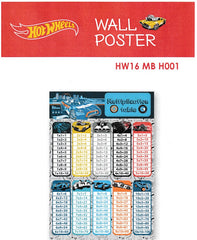 HOT WHEELS MULTIPLICATION TABLE EDUCATIONAL POSTER - HW16 MB H001