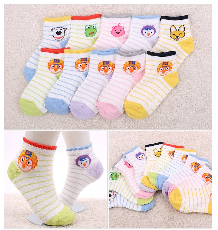 PORORO SOCKS- STRIPES (AGE 1-2) (ANTI-SLIP) [MADE IN KOREA]