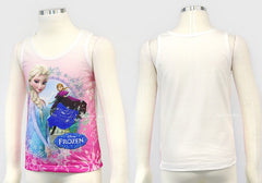 [MADE IN KOREA] FROZEN ELSA COTTON SLEEVELESS TEE / TOP - PINK / WHITE