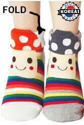 KOREAN ADULT COTTON SOCKS- MUSHROOM DESIGN [FREE SIZE] [MADE IN KOREA]
