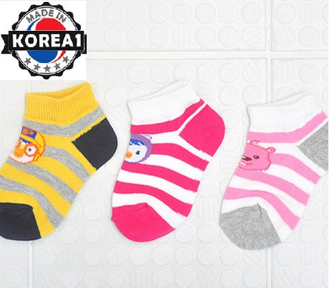 PORORO KIDS SOCKS - 3 PCS SET - PINK/YELLOW [MADE IN KOREA]