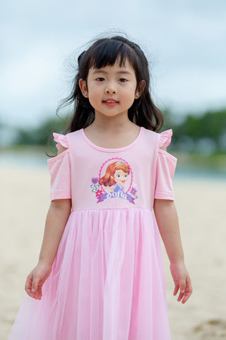 DISNEY PRINCESS SOFIA THE FIRST RUFFLES SLEEVES DRESS -PINK [DSF-0421-38]