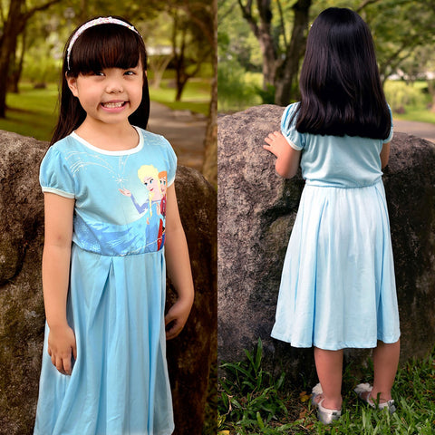 DISNEY FROZEN ELSA ANNA MIDI DRESS- BLUE [DP-4065-38]
