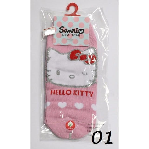 HELLO KITTY COTTON SOCKS KT- A504 (15-24CM) [AGE 5-15] [MADE IN TAIWAN]