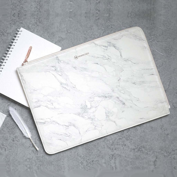 Posh | Ultra Slim Faux Leather Sleeve for MacBook Pro w/USB-C (Marble White)