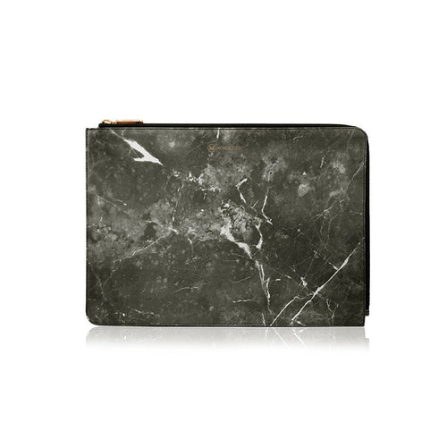Posh | Ultra Slim Faux Leather Sleeve for MacBook Pro w/USB-C (Marble Black)