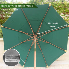 11ft Market Patio Umbrella Double-Vented 8 Rib Replacement Canopy Hunter Green - Formosa Covers