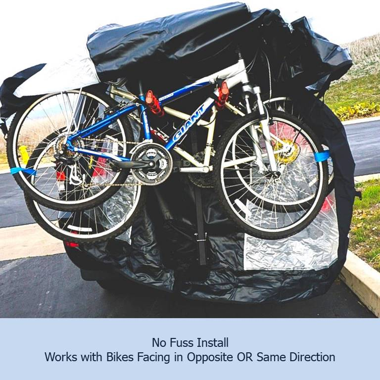 Dual Bike Rack Cover For Transport (Fits 1-2 Bikes) with Large Translucent Ends - Formosa Covers