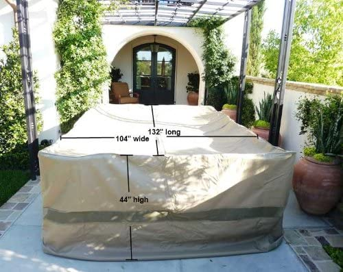 "Patio Set Cover For Rectangular or Oval Table 132""L x 104""W x 44""H Extra Wide Classic Taupe"