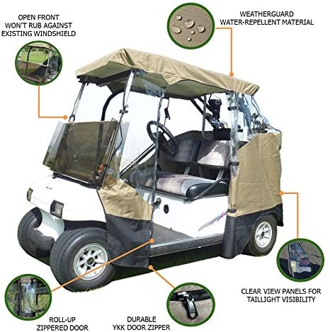 2 Passenger 3 Sides Golf Cart Driving Enclosure Cover Open Front Taupe - Formosa Covers